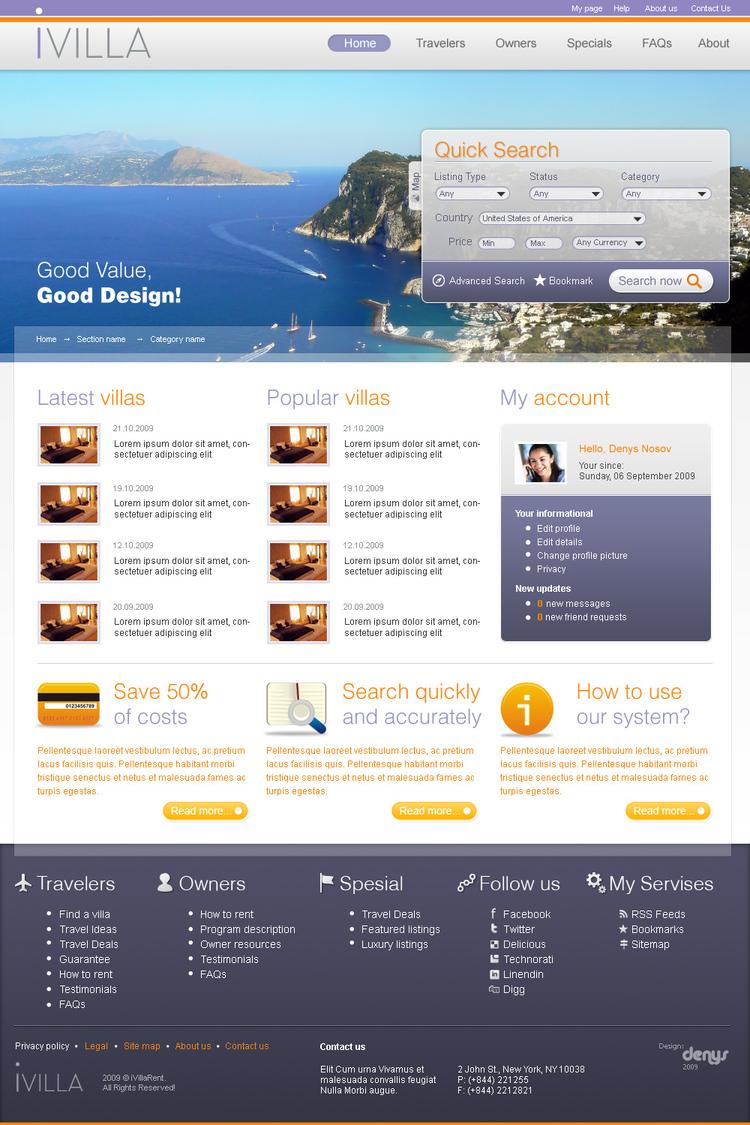 Сайт компании iVilla Rentals