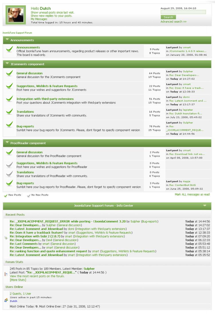 Интерфейс форума JoomlaTune.com